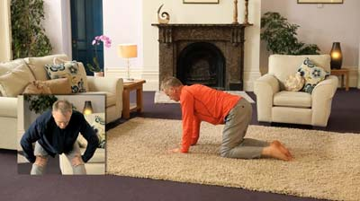 Cat and half moon stretch, Healthy Back Programme 1 from Dru Yoga