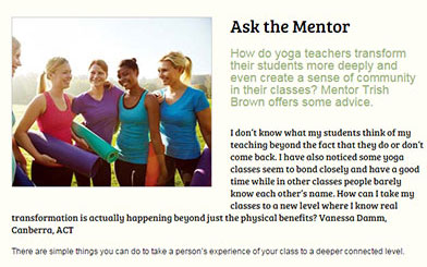 Ask the mentor - article by Patricia Brown