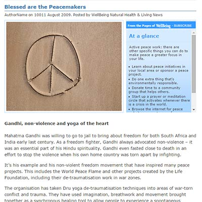 Blessed are the peacemakers - article by Astoria Barr
